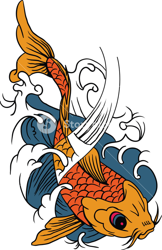647x1000 Vector Koi Fish Royalty Free Stock Image