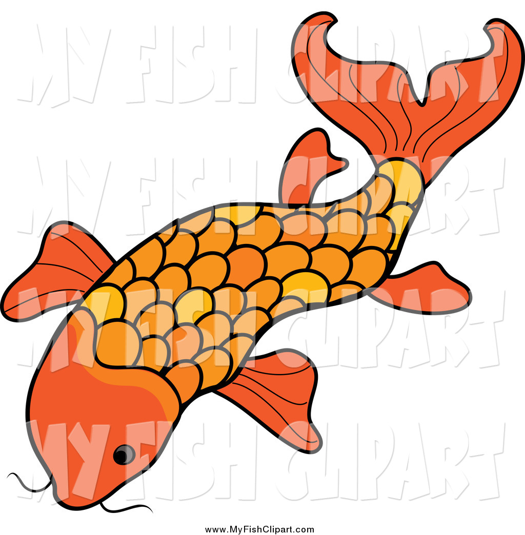 1024x1044 Clip Art Of A Orange Koi Fish By Pams Clipart