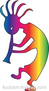 162x300 Clip Art Of Rainbow Kokopelli Playing His Flute