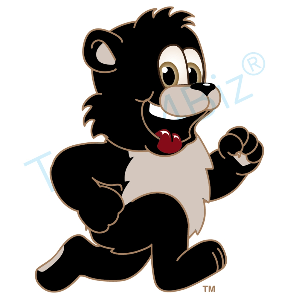 1000x1000 Black Bear Mascot Running Clip Art Clip Art