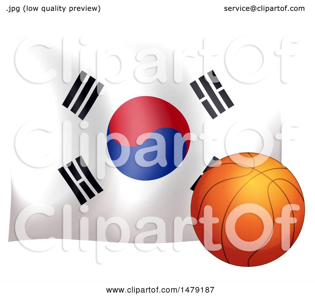 1080x1024 Clipart Of A South Korean Flag And Basketball