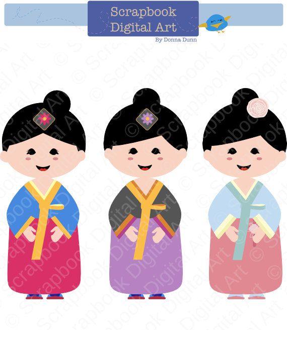 570x670 Korean Girl Hanbok Hanbok Clip Art Hanbok By Scrapbookdigitalart