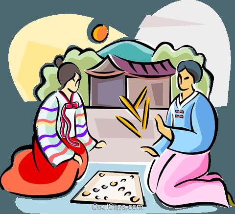 480x437 Korean Game Of Yut Royalty Free Vector Clip Art Illustration