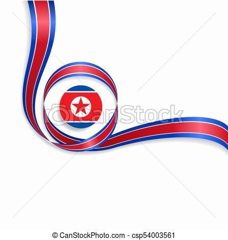 448x470 North Korean Wavy Flag Background. Vector Illustration . Clip