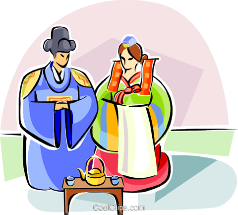 480x433 Traditional Korean Wedding Dress Royalty Free Vector Clip Art