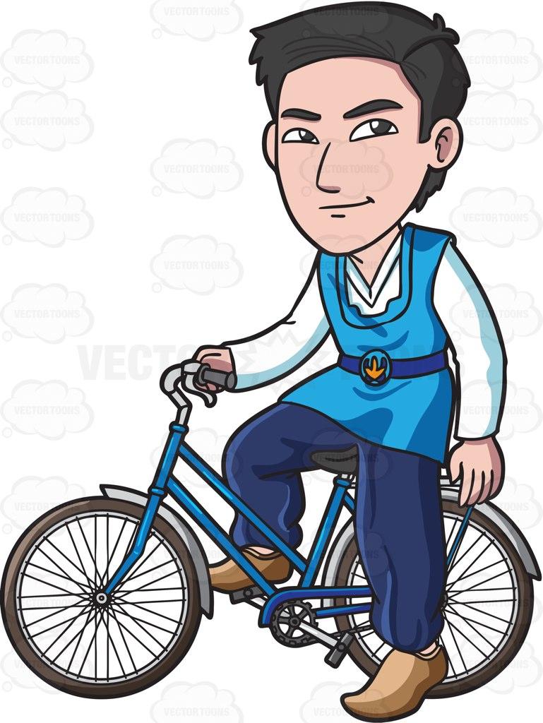769x1024 A Korean Man Riding A Bike Cartoon Clipart Vector Toons