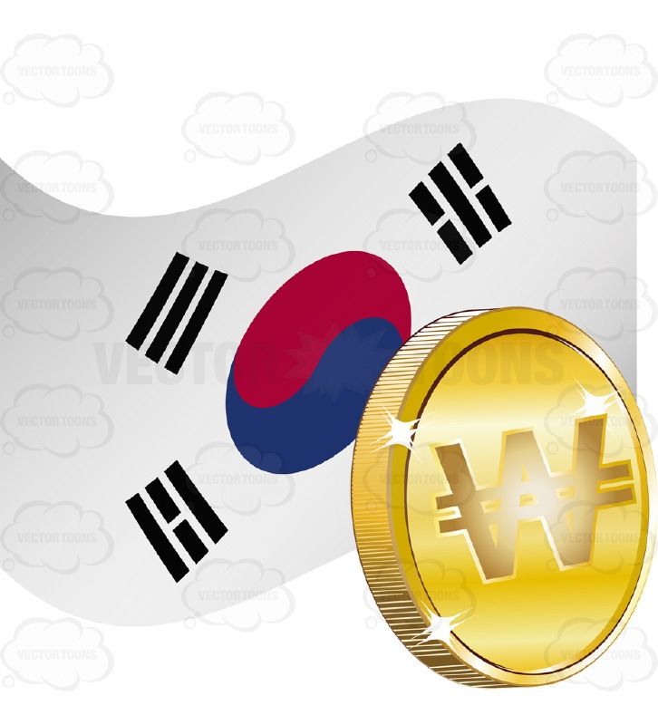 726x800 South Korea Flag With Won Sign On Gold Coin Gold Coins, South