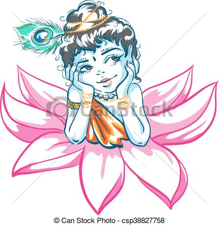 450x463 God krishna in lotus flower. illustration in vector format clipart