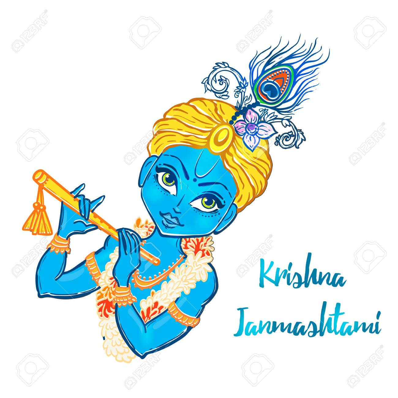 1300x1300 Hand drawn Hindu God Krishna Royalty Free Vector Clip Art Image