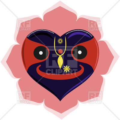 400x400 Heart Shaped Lord Krishna Jagannath Royalty Free Vector Clip Art
