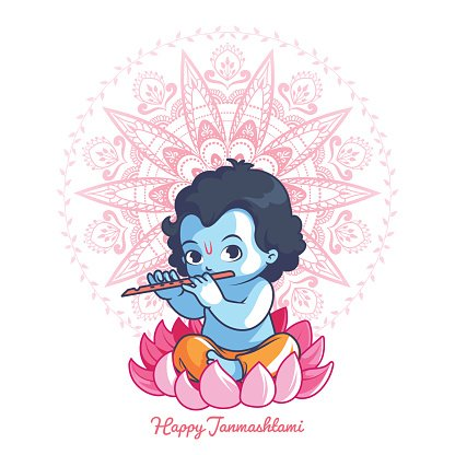 416x416 Little Cartoon Krishna With A Flute ON The premium clipart
