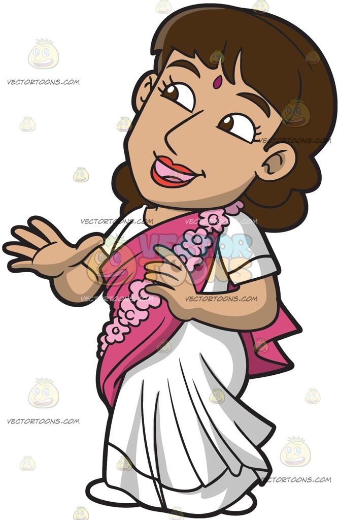 668x1024 A Charming Female Hare Krishna Member Cartoon Clipart Vector Toons
