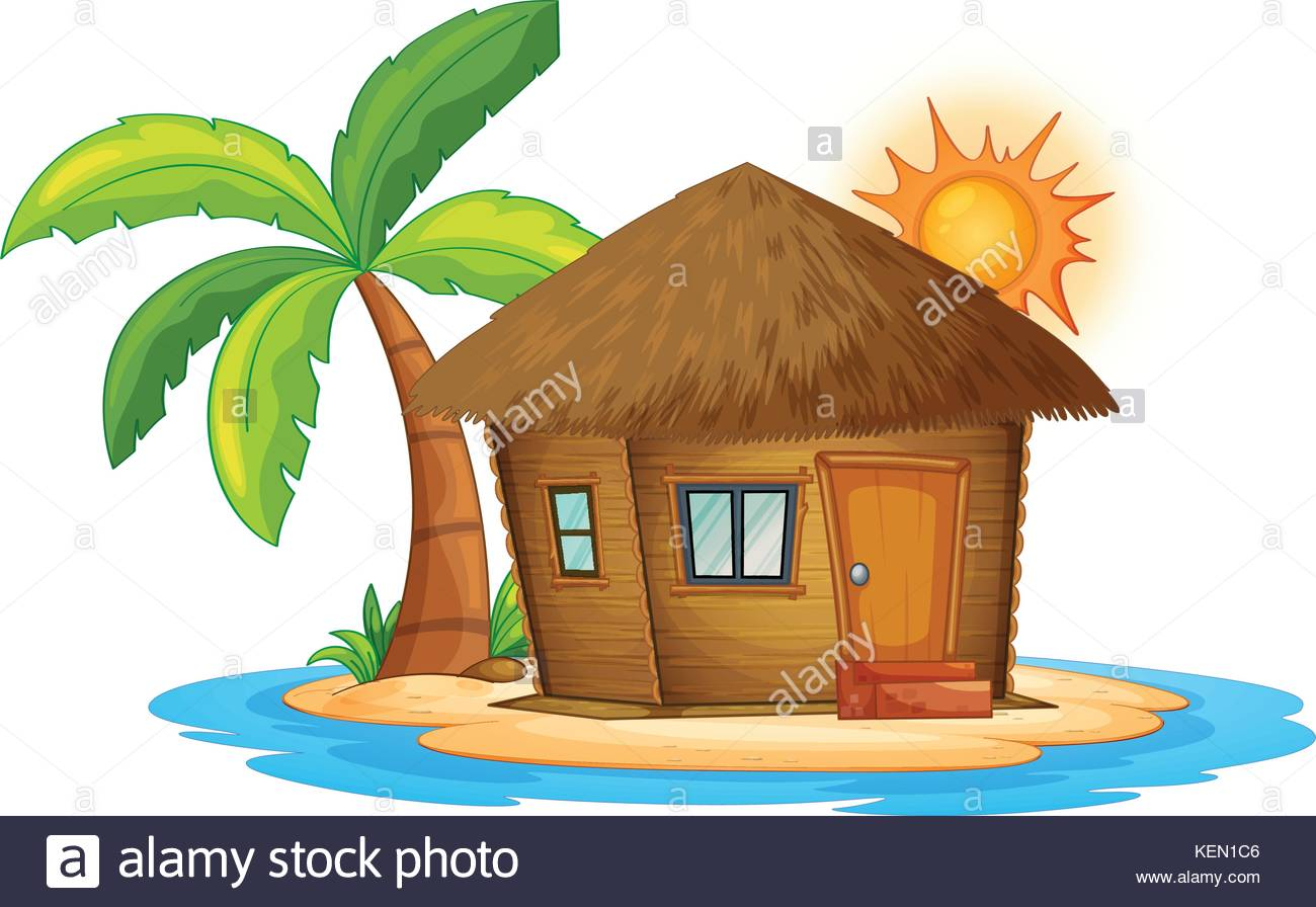 1300x896 Illustration Of A Small Nipa Hut In The Island On A White