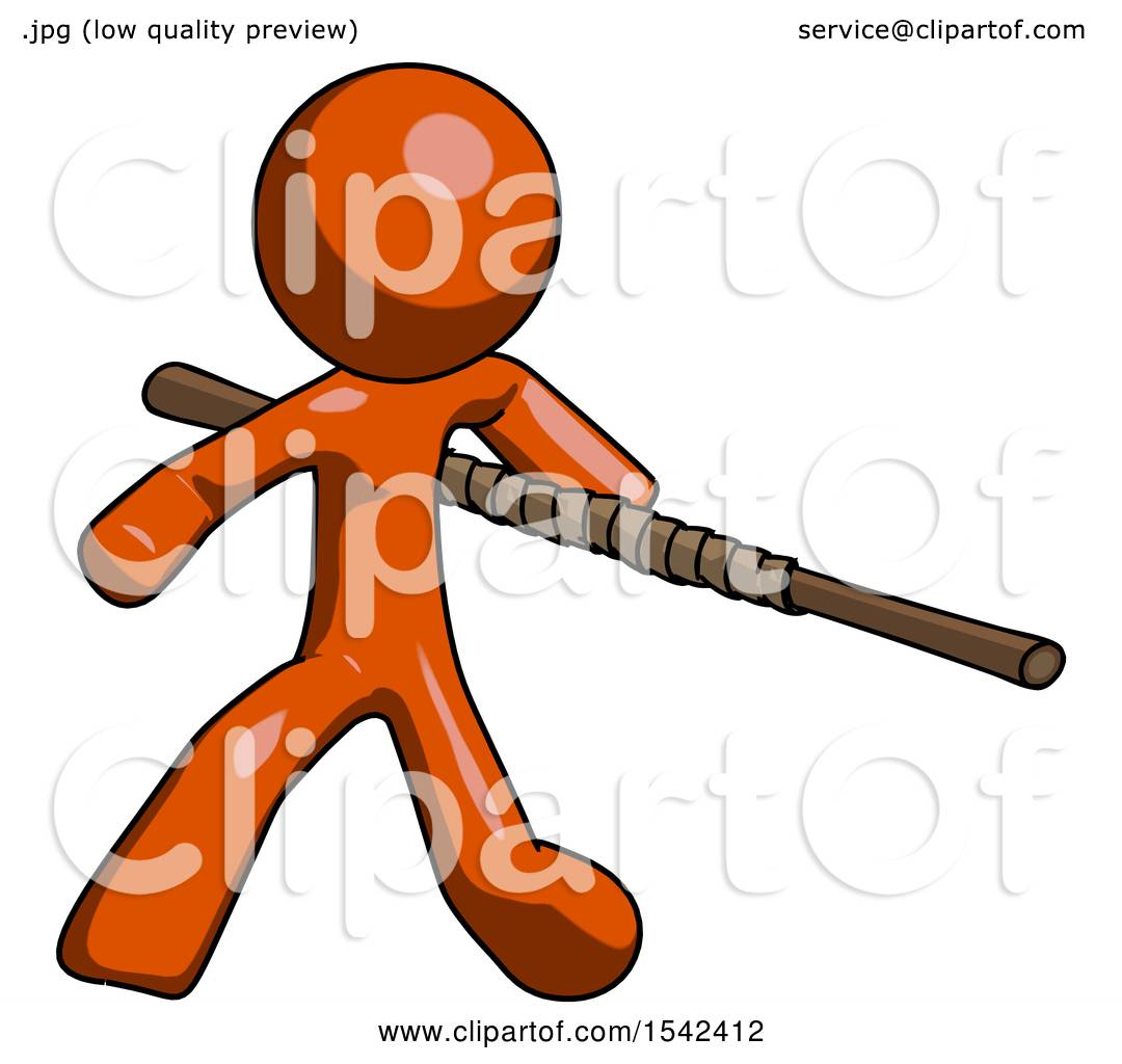 1080x1024 Orange Design Mascot Man Bo Staff Action Hero Kung Fu Pose By Leo