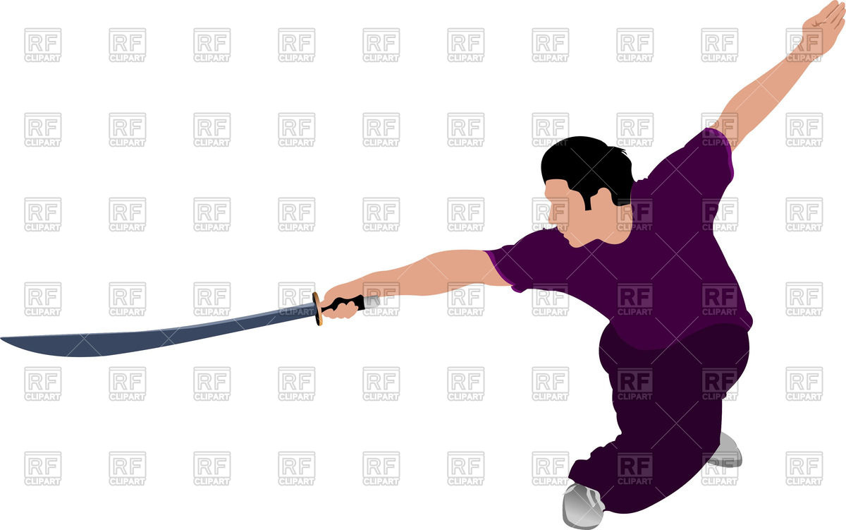 1200x751 Wushu (Kung Fu) Master With Sword Vector Image Vector Artwork