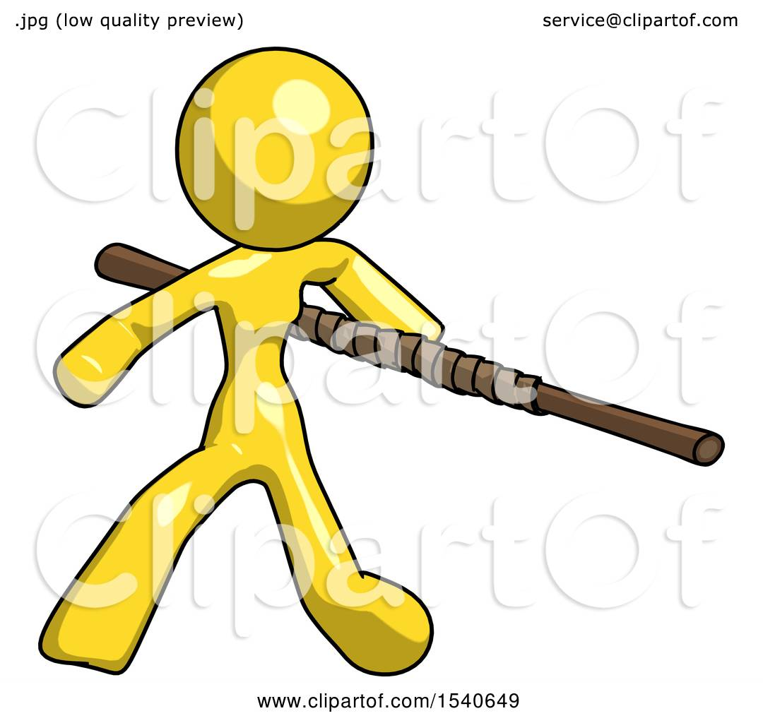 1080x1024 Yellow Design Mascot Woman Bo Staff Action Hero Kung Fu Pose By
