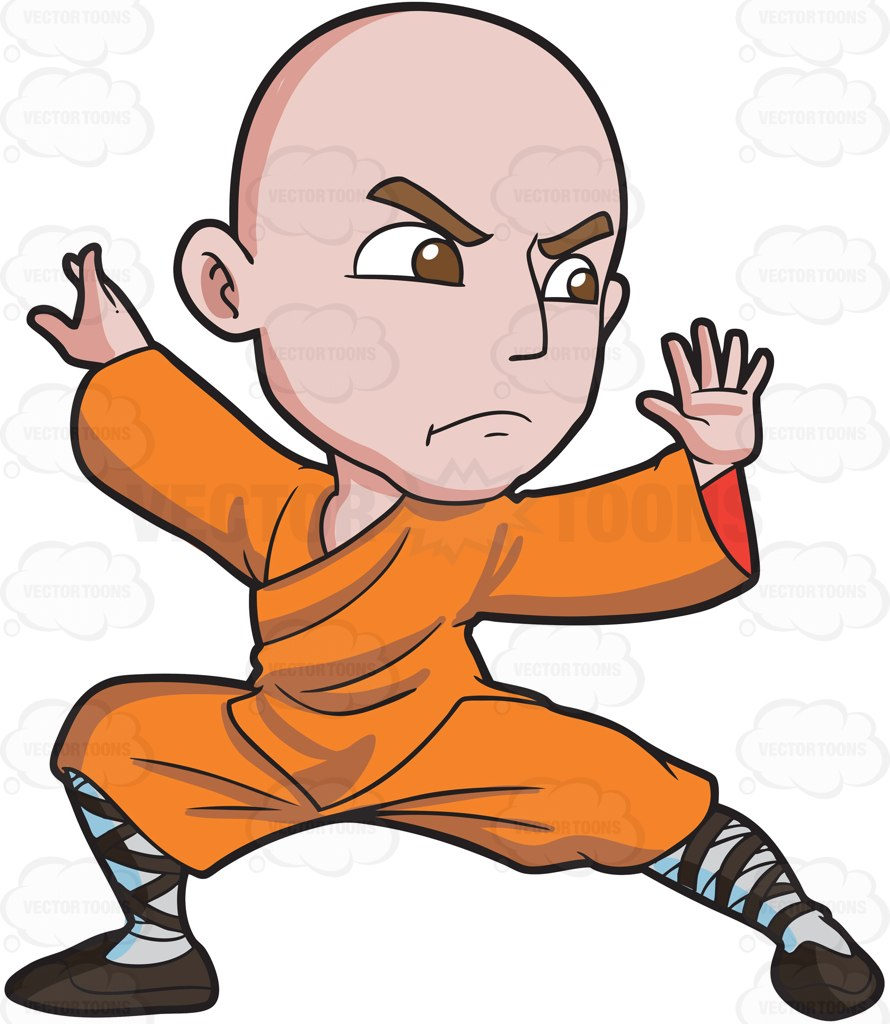 890x1024 A Shaolin Man Doing A Kung Fu Stance Cartoon Clipart Vector Toons