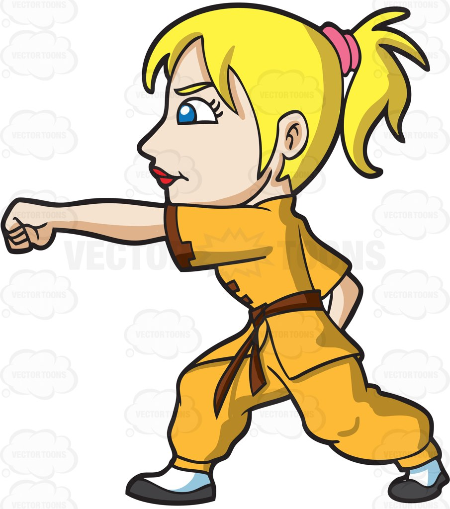 905x1024 A Woman Training For Kung Fu Cartoon Clipart Vector Toons