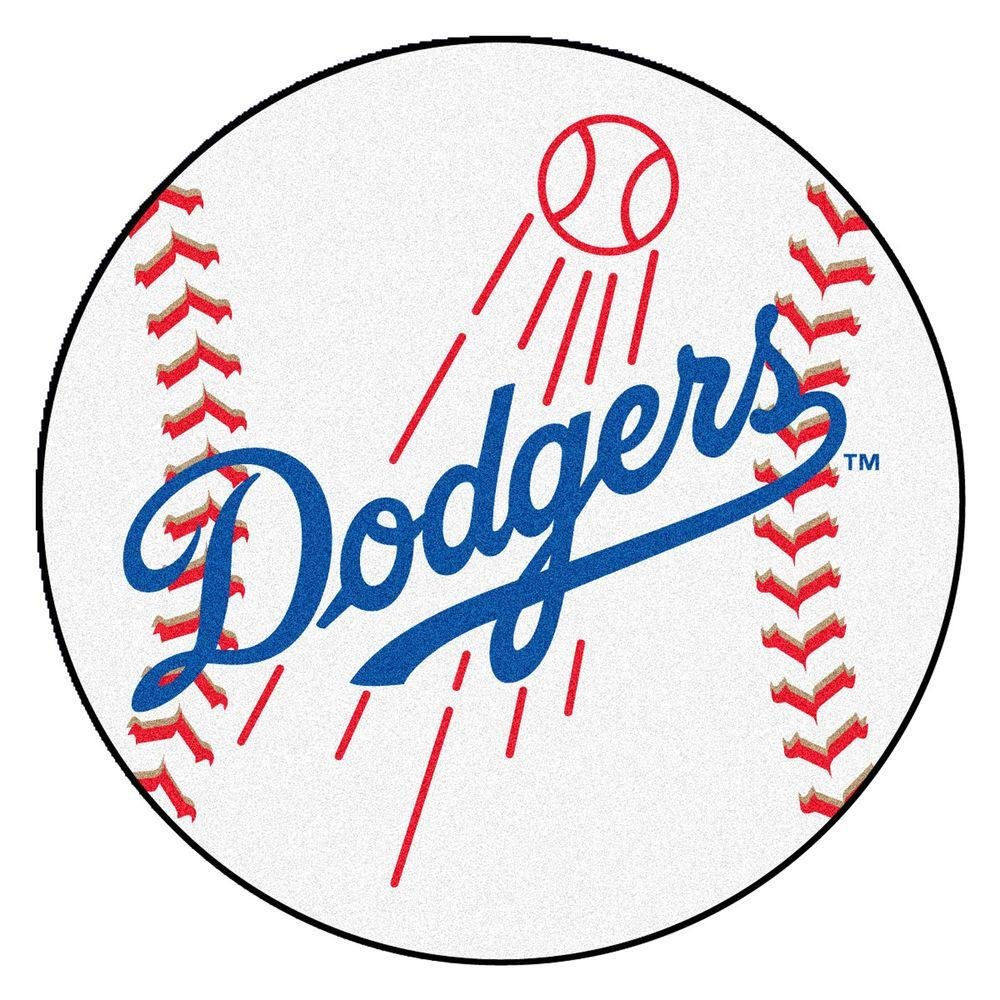 1000x1000 Fanmats Mlb Los Angeles Dodgers White 2 Ft. X 2 Ft. Round Area Rug
