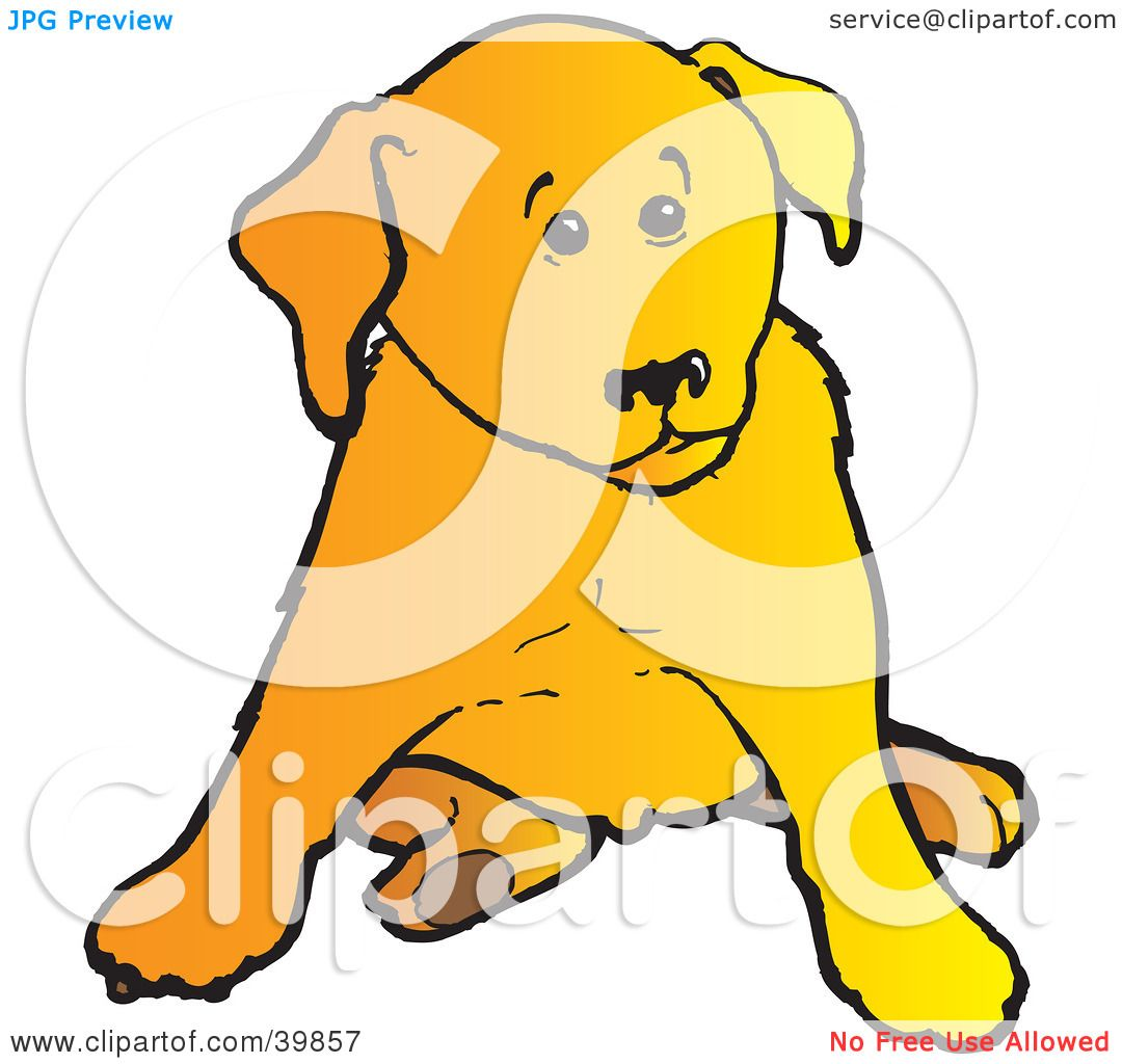 1080x1024 Clipart Illustration Of A Cute Yellow Lab Puppy Dog Sitting