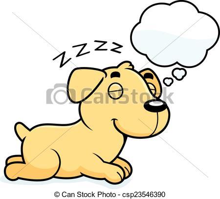 450x407 Cartoon Labrador Dreaming. A Cartoon Illustration Of A Eps