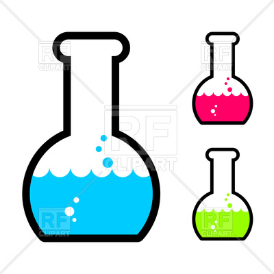 400x400 Laboratory Flask With Acid Icon Royalty Free Vector Clip Art Image