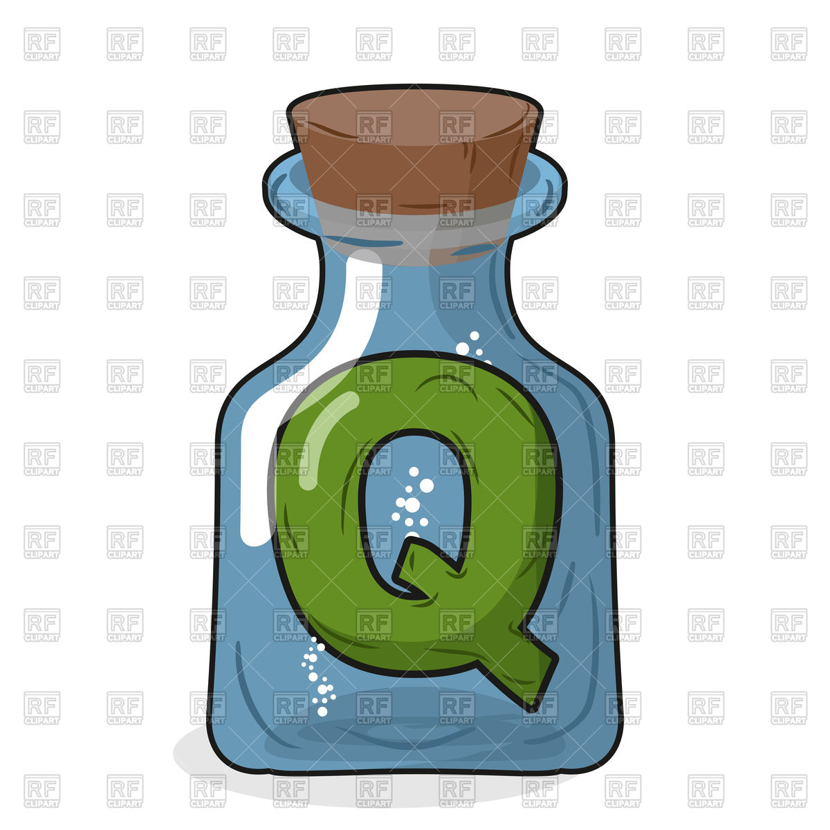 1200x1200 Letter Q In Laboratory Bottle Royalty Free Vector Clip Art Image