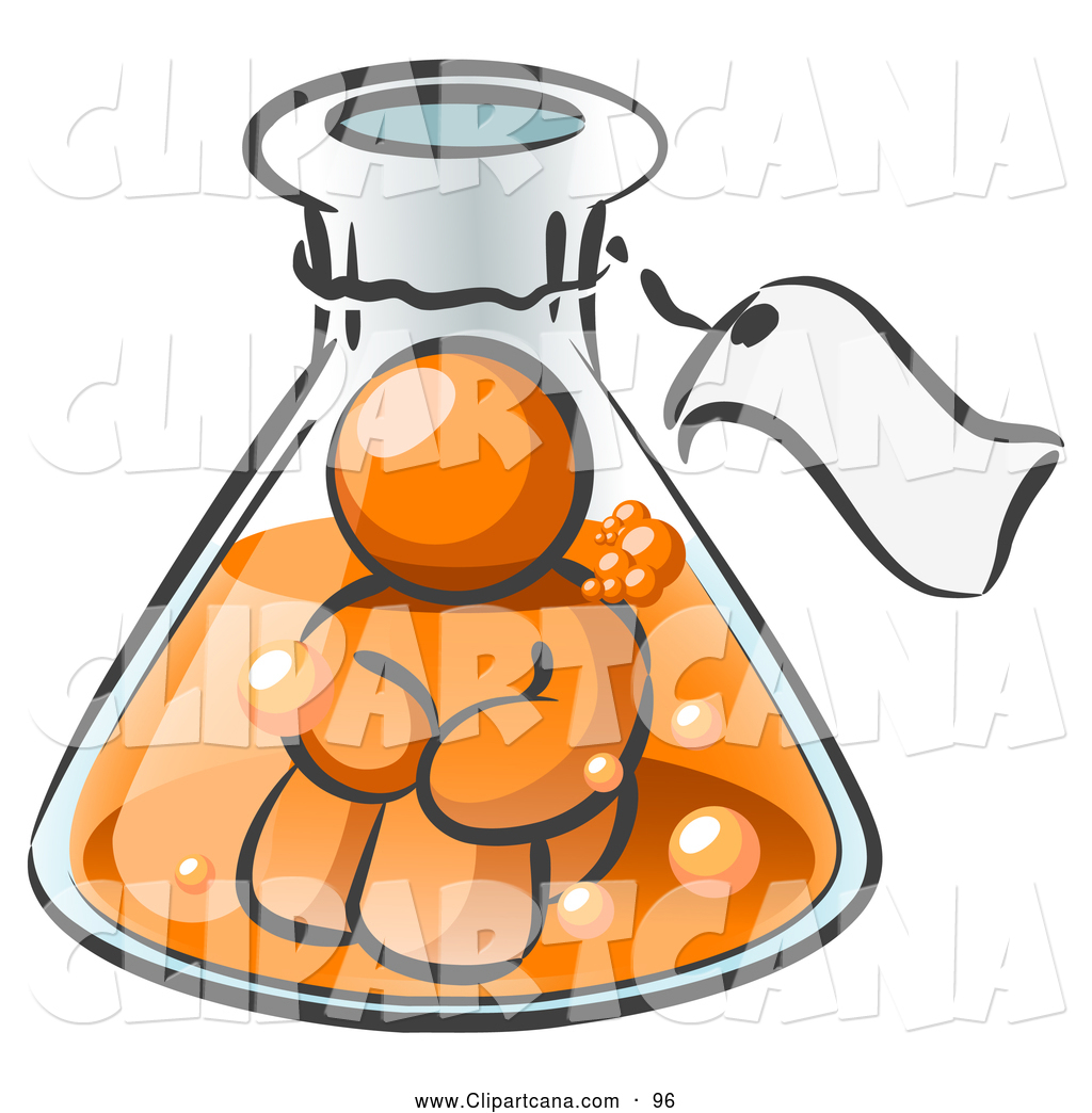 1024x1044 Vector Clip Art Of A Shiny Orange Man Trapped Inside A Bubbly