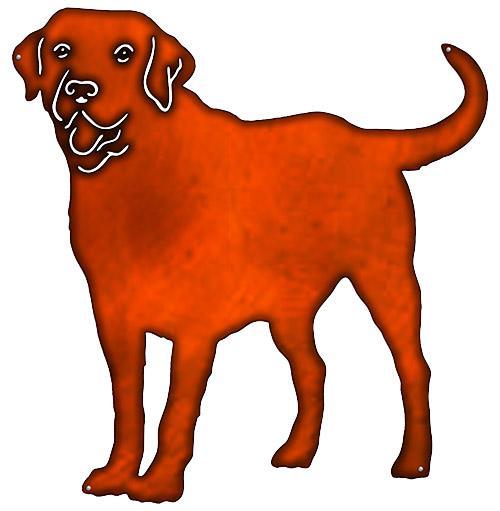 500x511 Labrador Retriever Dog Cut Out Faux Copper Finish Metal Sign 22x23