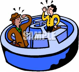 300x275 Clip Art Image Two Businessmen Calling To Each Other In A Maze