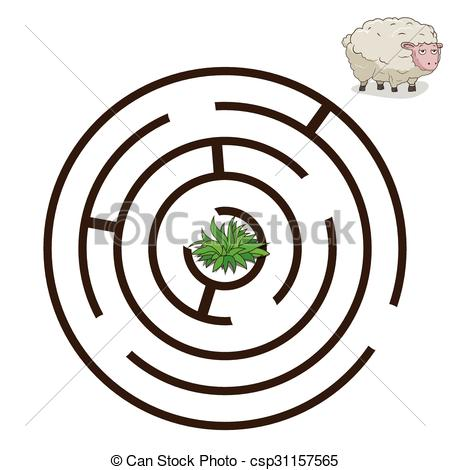 450x470 Game Labyrinth Find A Way Sheep Vector. Game Labyrinth Find
