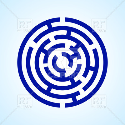 400x400 Round Blue Labyrinth Royalty Free Vector Clip Art Image