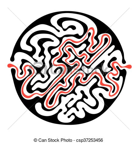 450x470 Black Vector Maze, Round Labyrinth Illustration With Clipart