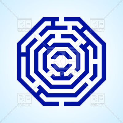 400x400 Blue Labyrinth In Octangle Shape Royalty Free Vector Clip Art