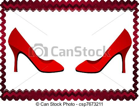 450x346 Lace Frame With Two Red Shoes. Frame Formed By Dark Red Vector