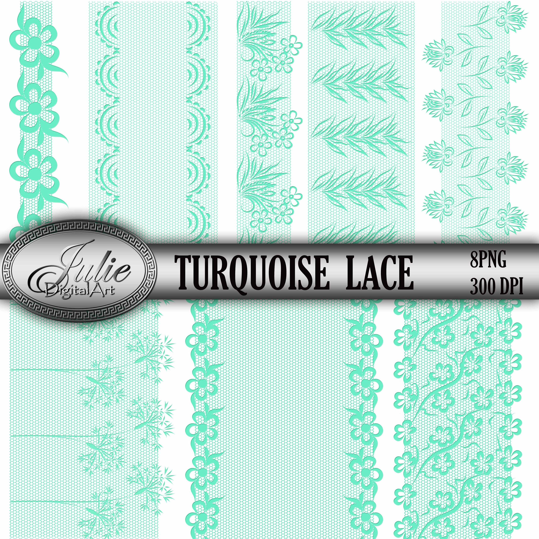3000x3000 Turquoise Lace Clip Art