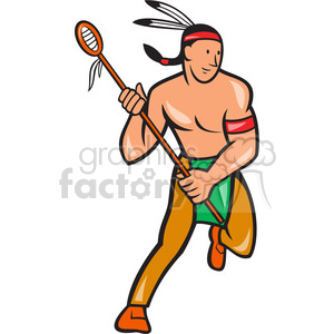 300x300 Royalty Free Lacrosse Indian Player Running 389979 Vector Clip Art