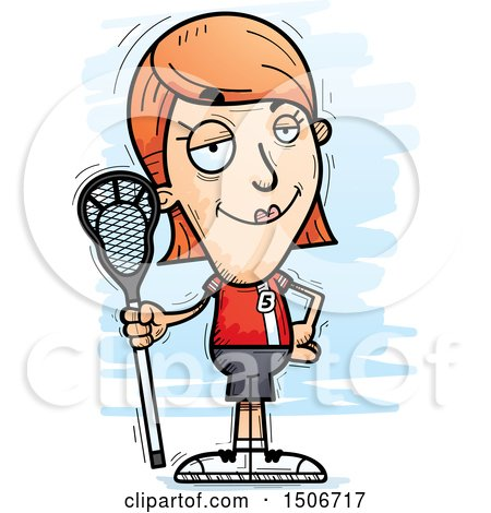 450x470 Clipart Of A Confident White Female Lacrosse Player