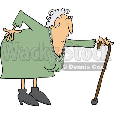 400x400 Clipart Of A Caucasian Granny With A Bad Back And Cane