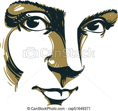 450x423 Black And White Illustration Of Lady Face, Delicate Visage