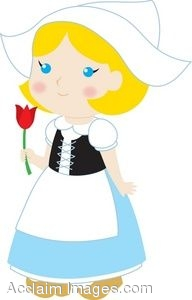 192x300 Clip Art Of A Little Dutch Girl Holding A Tulip
