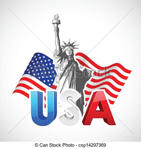 450x470 Statue Of Liberty With American Flag. Illustration Of Statue