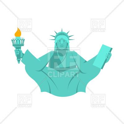 400x400 America Yoga. Statue Of Liberty In Lotus Posture. Royalty Free