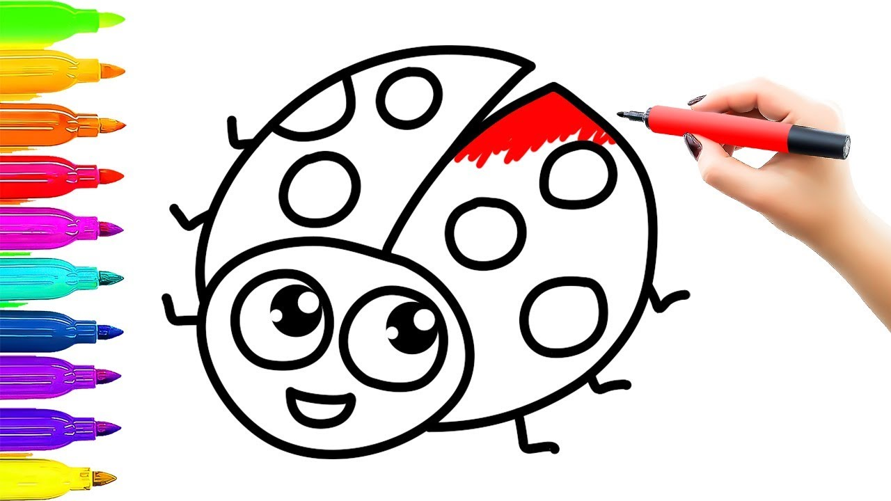 1280x720 Ladybug Drawing Kids With Coloring. How To Draw Ladybird