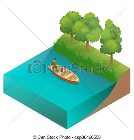 450x470 Fishing Concept. Man Fishing On A Lake From The Boat . Clipart