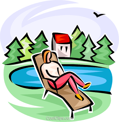 468x480 Person On A Lawn Chair Royalty Free Vector Clip Art Illustration