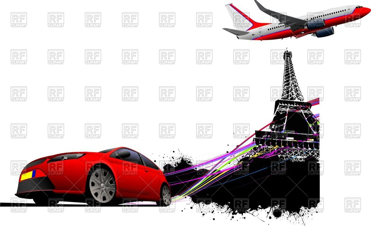 1200x732 Eiffel Tower In Paris, Red Coupe And Airplane Royalty Free Vector