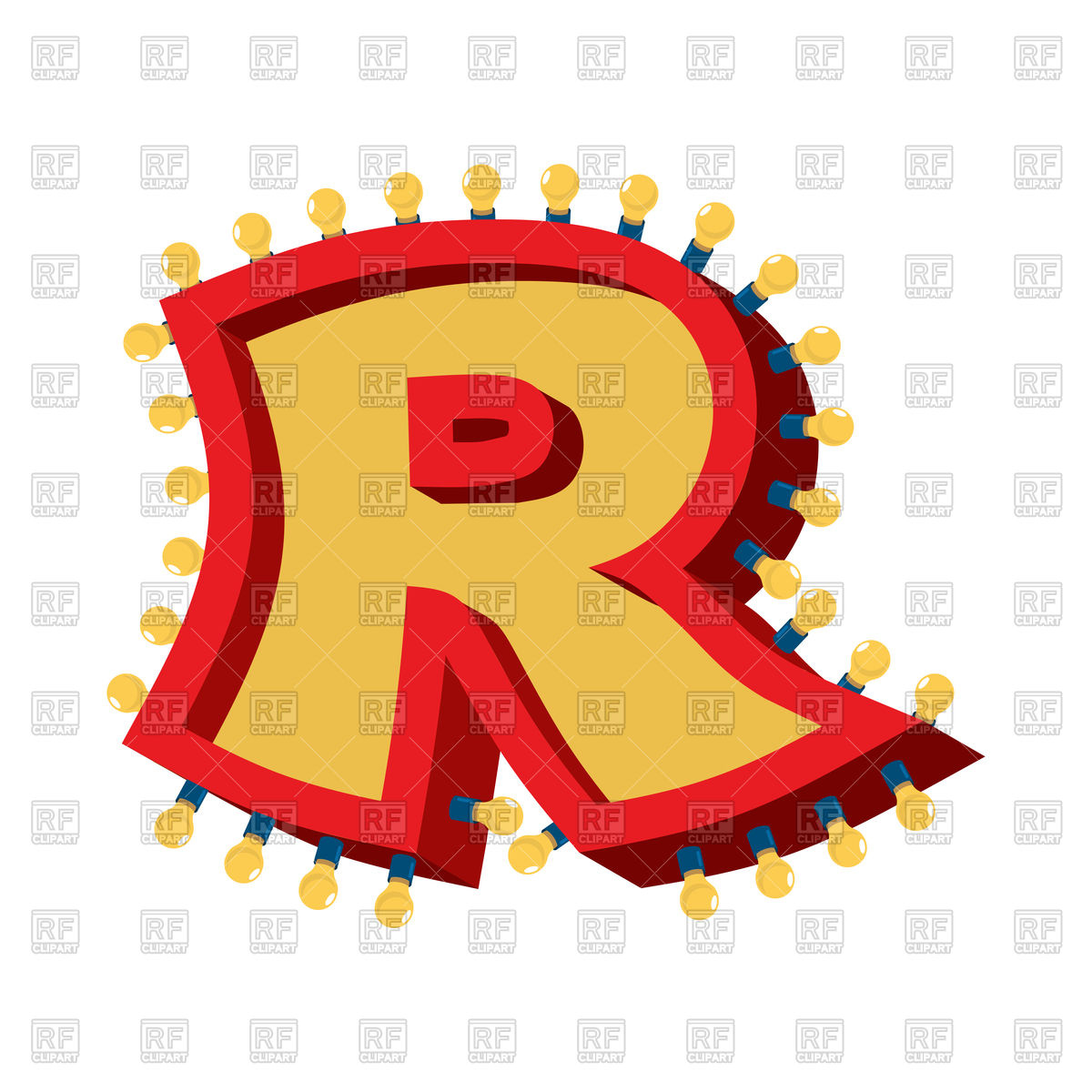 1200x1200 Letter R Lamp Glowing Font Royalty Free Vector Clip Art Image