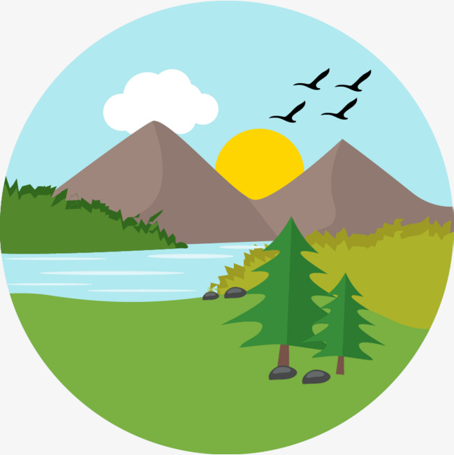 650x651 Landscape Painting Hand Painted, Hand Painted Cartoon, Vector Hand