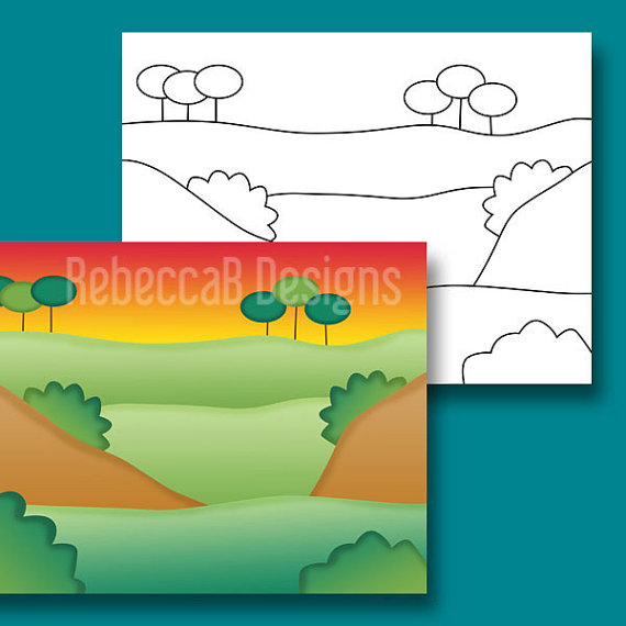 570x570 Landscape Clipart, Background Scenes Clip Art, Landscape Digital